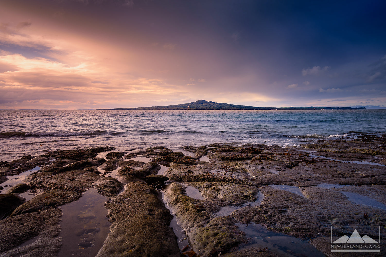 Stunning photo print of Rangitoto Island in Auckland Harbour