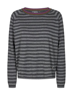 Mos Mosh Wyn Stripe Jumper - Dark Grey Melange