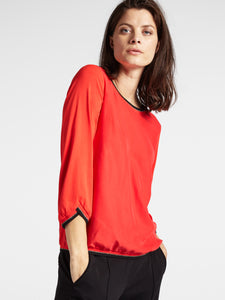 Sandwich Plain Top with Lurex Ribbing - Red