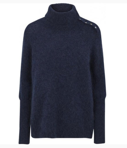 Just Female Chiba Neck Knit - Deep Blue