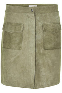 Numph Nulionella Suede Skirt Soft Green