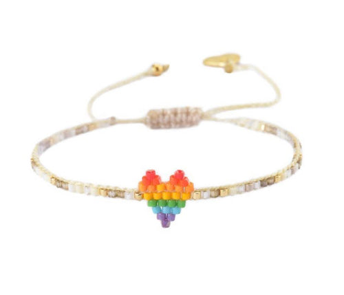 Mishky Single Heart Bracelet - Rainbow
