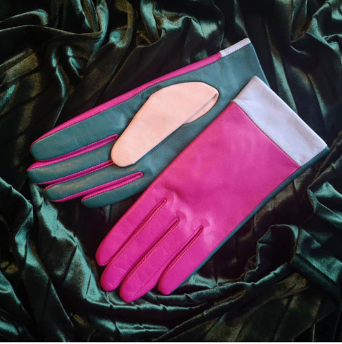 Mabel Sheppard Leather Gloves - Fuchsia Colour Block