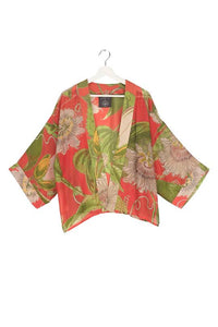 One Hundred Stars Passion Flower Kimono - Scarlet Red
