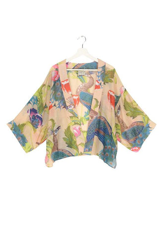One Hundred Stars Peacock & Poppies Kimono - Sand