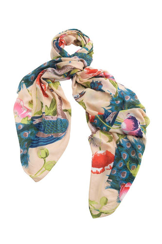 One Hundred Stars Peacock & Poppies Scarf - Sand