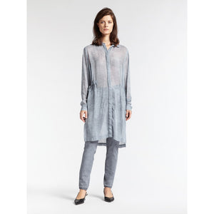 Sandwich Tunic with Drawstring Waist - Blue Grey