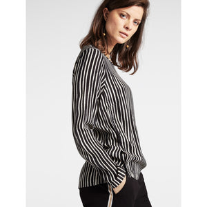 Sandwich Blouse - Black/Ecru Stripe