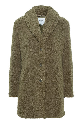 Saint Tropez Cindy Teddy Coat - Army Green
