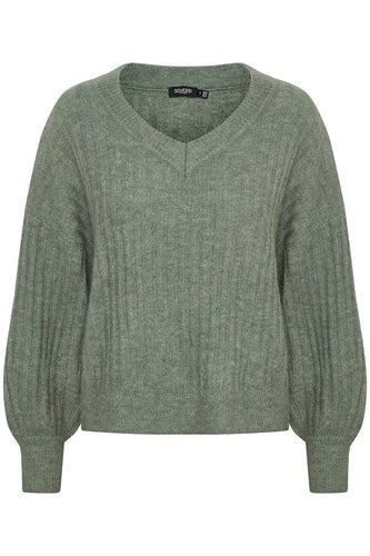 Soaked in Luxury Angel Rib Pullover - Hedge Green