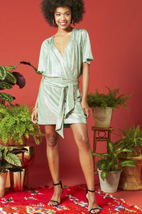 Onjenu Arthur Mini Dress - Metallic Gold Green