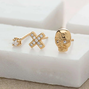 Scream Pretty Skull and Cross Set of 3 single Stud Earrings - Gold Plated