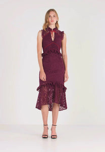 Hope & Ivy Velvet Lace Midi Dress - Burgundy