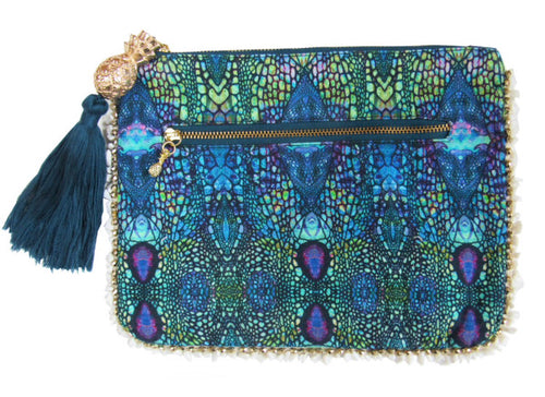 Sophia Alexia Clutch Bag - Blue Iguana