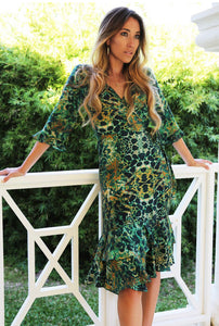 Sophia Alexia Midi Wrap Dress - Emerald Leopard