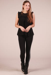 Saint Tropez Pleated Lace Top - Black