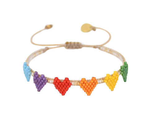 Mishky Multi Heart Row Bracelet - Rainbow