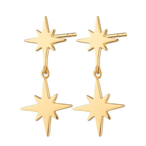 Scream Pretty Double Star Stud Earrings - Gold Plated