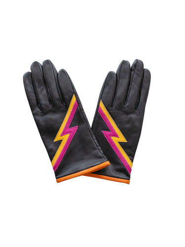 Mabel Sheppard Leather Gloves - Black Ziggy