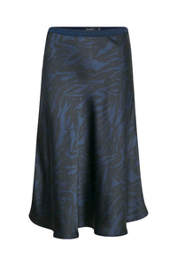 Soaked in Luxury Zebra Print Skirt - Dark Blue