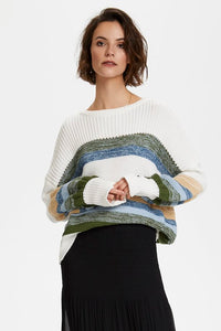 Soaked in Luxury Panna Pullover - Whisper White Stripe