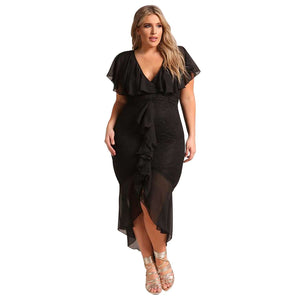 Black Plus Size Chiffon Lace Waterfall Ruffle Midi Dress, Plus Size Dresses, Premium Wholesale Womens Clothing and Accessories | LEXY RED