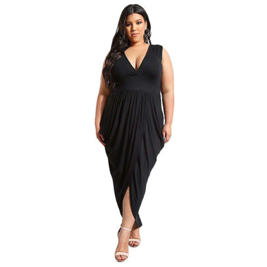 Black Partying Draping Maxi Length Plus Size Dress, Plus Size Dresses, Premium Wholesale Womens Clothing and Accessories | LEXY RED