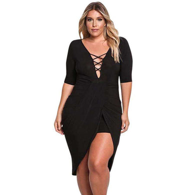 Black Plus Size Plunge Cross Strap Surplice Bodycon Dress, Plus Size Dresses, Premium Wholesale Womens Clothing and Accessories | LEXY RED
