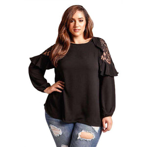 Black Ruffle Trim Lace Cold Shoulder Plus Size Blouse, Plus Size Tops, Premium Wholesale Womens Clothing and Accessories | LEXY RED