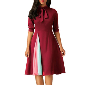 False Slit Splice Burgundy Bow Tie Vintage Dress, Vintage Dresses, Premium Wholesale Womens Clothing and Accessories | LEXY RED