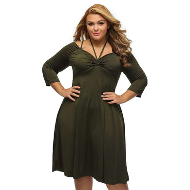 Army Green Enticing Tie Off-shoulder Plus Size Midi Dress, Plus Size Dresses, Premium Wholesale Womens Clothing and Accessories | LEXY RED