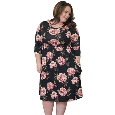 Black Floral Printing Plus Size Dress, Plus Size Dresses, Premium Wholesale Womens Clothing and Accessories | LEXY RED