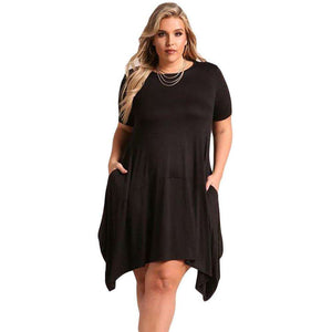 Black Casual Pocket Style Plus Size Jersey Dress, Plus Size Dresses, Premium Wholesale Womens Clothing and Accessories | LEXY RED