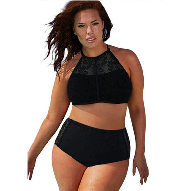 Black Patterned Mesh Insert Plus Size Swimwear, Plus Size Swimwear, Premium Wholesale Womens Clothing and Accessories | LEXY RED