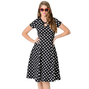 Black & White Dotted Cap Sleeve Swing Dress, Vintage Dresses, Premium Wholesale Womens Clothing and Accessories | LEXY RED