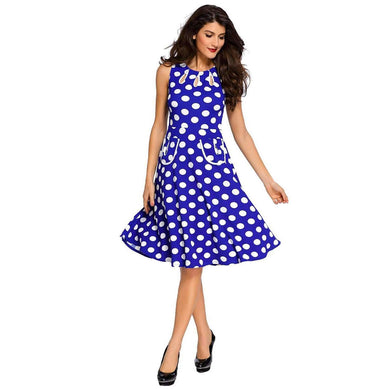 Blue Polka Dot Bohemain Print Dress with Keyholes, Vintage Dresses, Premium Wholesale Womens Clothing and Accessories | LEXY RED