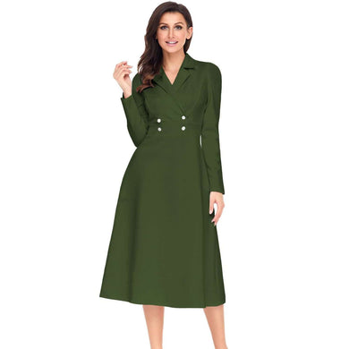 Army Green Vintage Button Collared Fit-and-flare Dress, Vintage Dresses, Premium Wholesale Womens Clothing and Accessories | LEXY RED