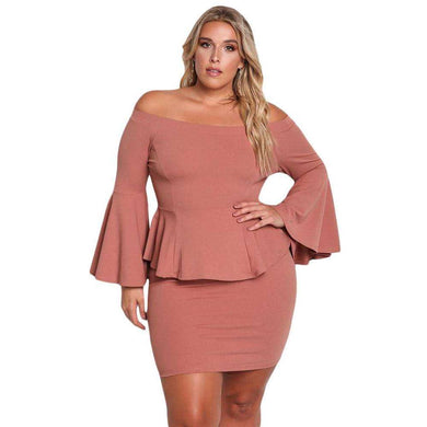 Dusty Pink Off The Shoulder Bell Sleeves Peplum Plus Dress, Plus Size Dresses, Premium Wholesale Womens Clothing and Accessories | LEXY RED
