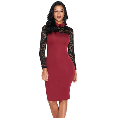 Burgundy Lace Sleeve Doll Collar Bodycon Retro Midi Dress, Vintage Dresses, Premium Wholesale Womens Clothing and Accessories | LEXY RED
