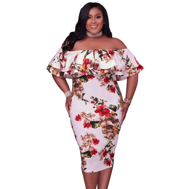 Floral Layered Ruffle Off Shoulder Curvaceous Dress, Plus Size Dresses, Premium Wholesale Womens Clothing and Accessories | LEXY RED
