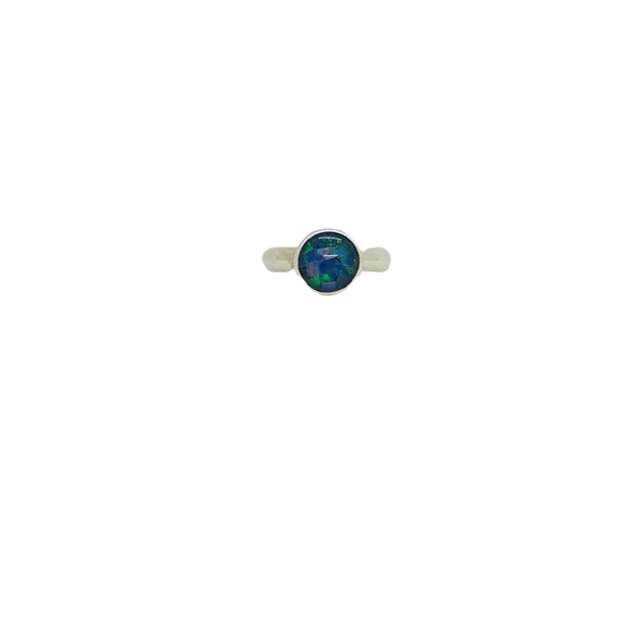 Opal Mosaic Solitaire Ring