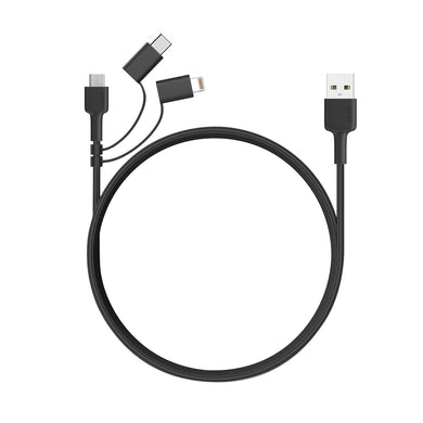 Aukey CB-BAL5 3 in 1 (USB-C, Lightning, Micro USB) Nylon Braided Cable