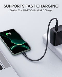 Aukey CB-CL12 0.18m Type-C to Lightning Nylon Cable