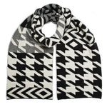 Houndstooth Blanket Scarf - Blk Wht - ami boutique