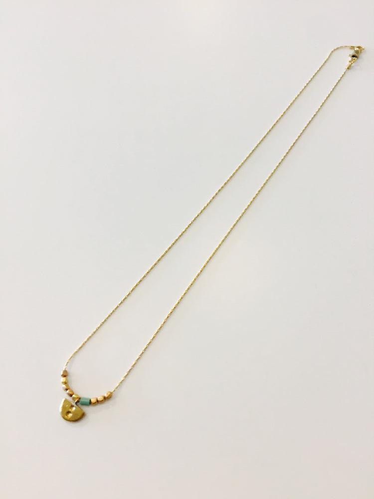 Isla Necklace - Turq/Gold