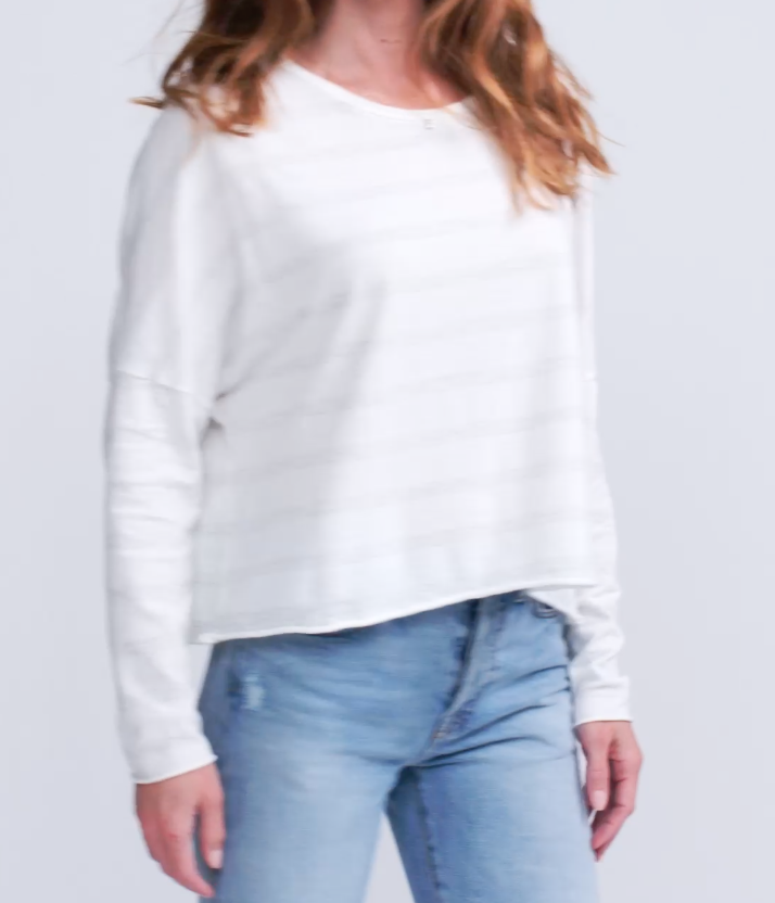 LS Crop Tee - White Stripe
