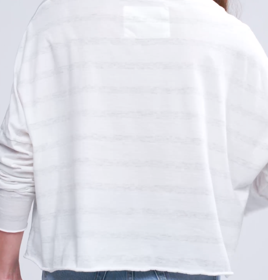 LS Crop Tee - White Stripe - a m i