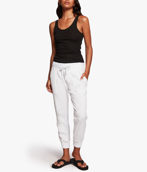 Mixed Media Pant - White