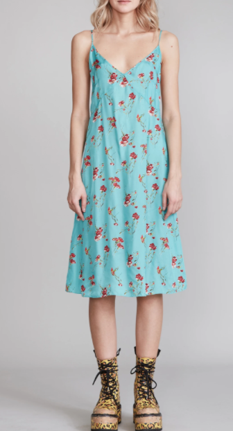 Midi Slip Dress - Blue Floral