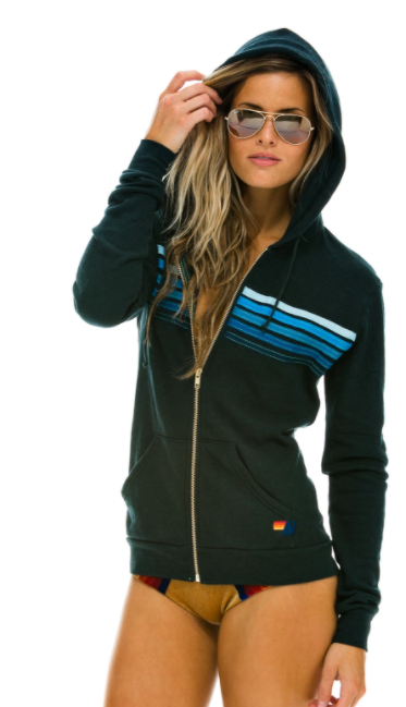 5 Stripe Zip - Charcoal Blue